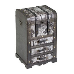 BAÚL 3 CAJONES PU-METAL-MADERA 45 X 39 X 72 CM